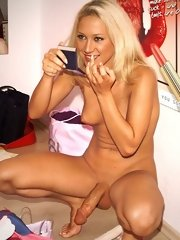 completely naked blonde futanari dickgirl photographed herself in the mirror