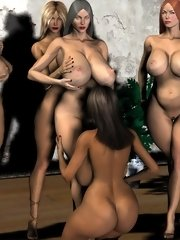3d futanari party of depraved nude dickgirls