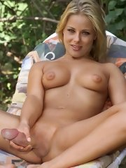 blonde futanari babe posing for xxx gallery